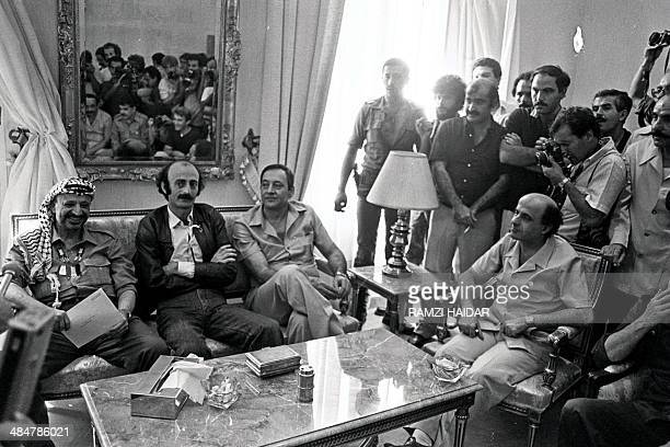 Palestinian leader Yasser Arafat Lebanese Druze leader Walid Jumblatt Shiite Muslim Amal Movement chief Nabih Berri and the head of the Communist...