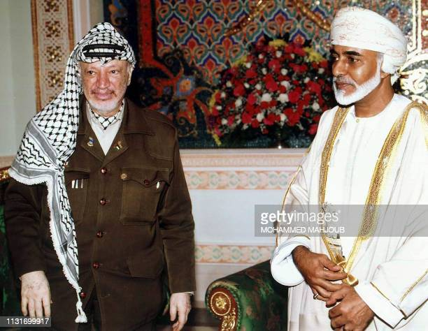 Palestinian leader Yasser Arafat meets with Omani Sultan Qaboos 12 September 2000 in Muscat. Arafat arrived here for talks with Qaboos on the delay...