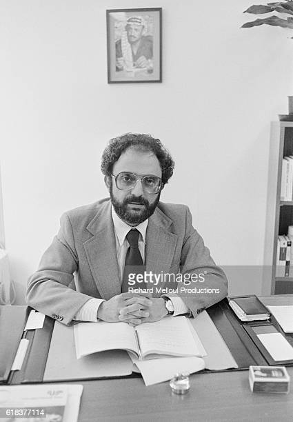 Palestinian Liberation Organization leader Ibrahim Souss works in his Paris office at the United Nations Educational Scientific and Cultural...