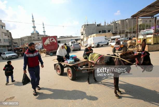 A Palestinian man rides a donkeydrawn carriage in Rafah in the southern Gaza Strip on November 14 after Palestinian militant groups announced an...