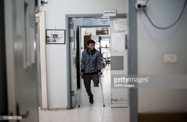 Palestinian man with artificial legs seen at the Center for Prosthetics and Paralysis in Gaza Gaza City ALPC was founded in 1974 and works with...