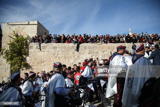 Palestinian marching band reaches AlAqsa Mosque Compound during the celebrations for Mawlid alNabi the birth anniversary of Muslims' beloved Prophet...