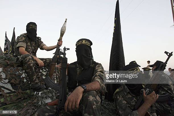 Palestinian members of the Islamic Jihad Militant Movememt parade at a rally in the Netzarim Settlement on September 15 2005 in the Gaza Strip...