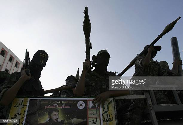 Palestinian members of the Islamic Jihad Militant Movememt parade at a rally in Gaza city on September 15 2005 in the Gaza Strip Hundreds of militant...