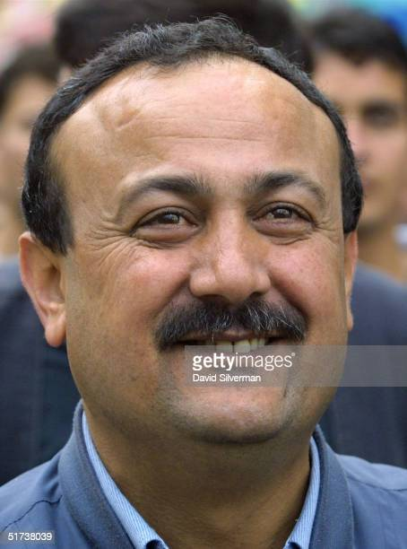 Palestinian militant commander Marwan Barghouti head of the milittant Tanzim faction of Yasser Arafat's Fatah movement takes part in a march November...