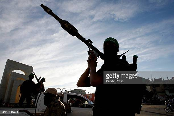 Palestinian militant from Izz al-Din al-Qassam Brigades, of Hamas during the marking of Nakba or the ''Day of Catastrophe'' in Rafah in the southern...