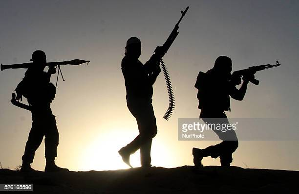 Palestinian militants from alHusine brigade loyal to Fatah movement is seen during a militarystyle exercise graduation ceremony in Khan Younis in the...