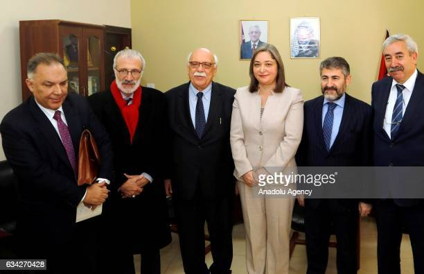 Palestinian Minister for Tourism and Antiquities Rula Maaya and Turkish Culture and Tourism Minister Nabi Avci pose for a photo during their meeting...