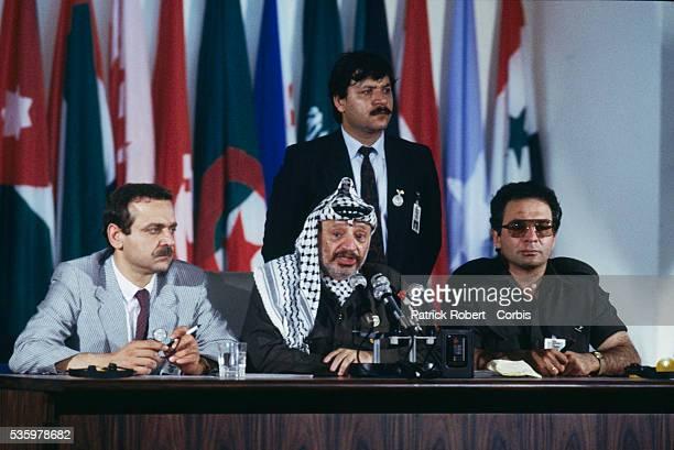 Palestinian Minister of Culture and Information Yasser Abd Rabu Palestine Liberation organization leader Yasser Arafat and Arafat's presidential...