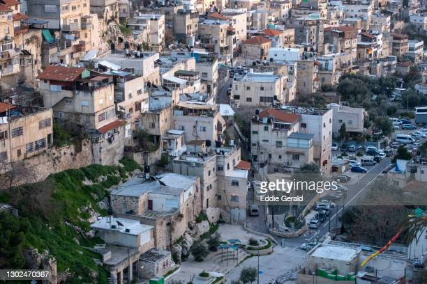 palestinian neighbourhoods in east jerusalem - east jerusalem stock pictures, royalty-free photos & images