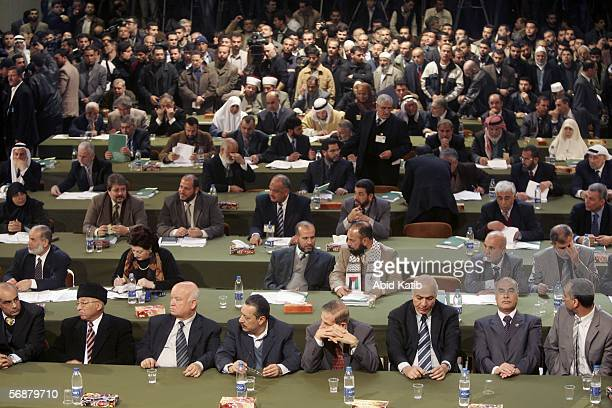 Palestinian Parliament elected members attend the inaugural parliament session on February 18 2006 in Gaza City Gaza Strip The inaugural session of...
