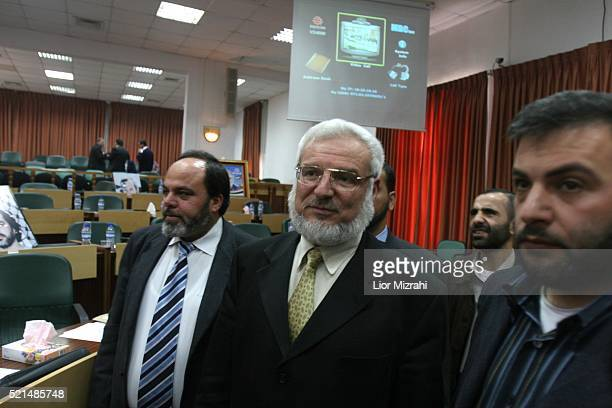 Palestinian Parliament Speaker Aziz Dweik after a session of the Palestinian Legislative Council in the West Bank city of Ramallah Monday March 27,...