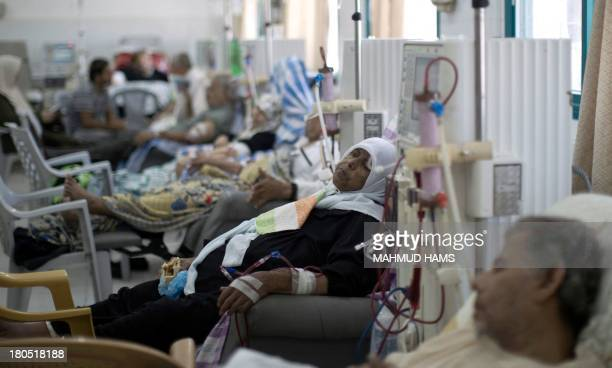 Palestinian patients undergo kidney dialysis at alShifa hospital in Gaza City on September 14 2013 The health situation in the Gaza Strip faces...