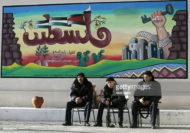 Palestinian policemen wait to vote for the Palestinian legislative candidates in Ahmad Shawqi School January 21 in Gaza City Gaza Strip The newly...