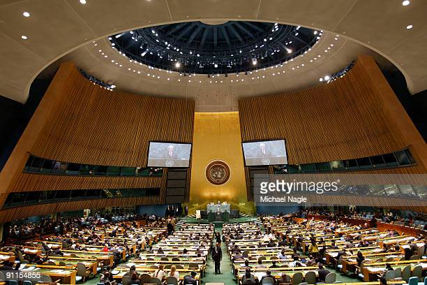 Palestinian President Mahmoud Abbas addresses the United Nations General Assembly at the UN headquarters on September 25, 2009 in New York City. The...