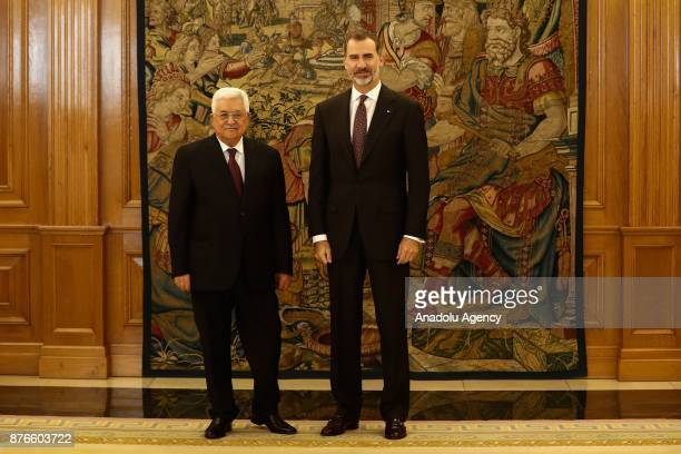 Palestinian President Mahmoud Abbas and King Felipe VI of Spain pose for a photo during their meeting at Palace of Zarzuela in Madrid Spain on...