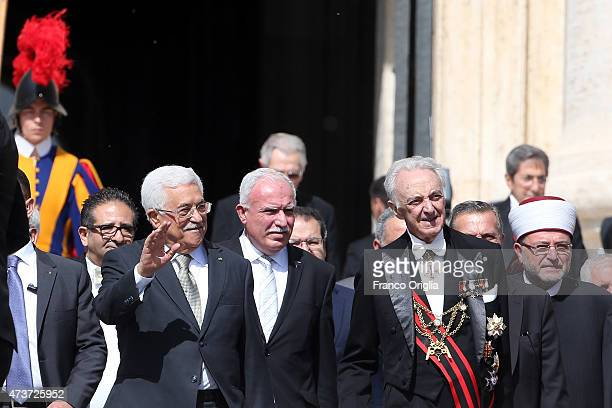 Palestinian President Mahmoud Abbas attends a canonisation ceremony held by Pope Francis in St Peter's Square on May 17 2015 in Vatican City Vatican...