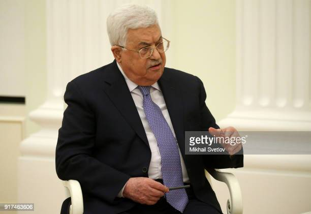 Palestinian President Mahmoud Abbas attends a meeting at the Kremlin on February 12 2018 in Moscow Russia