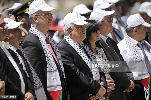 Palestinian President Mahmoud Abbas attends an openair mass lead by Pope Francis in the Manger Square on May 25 2014 Pope Francis addressed the...
