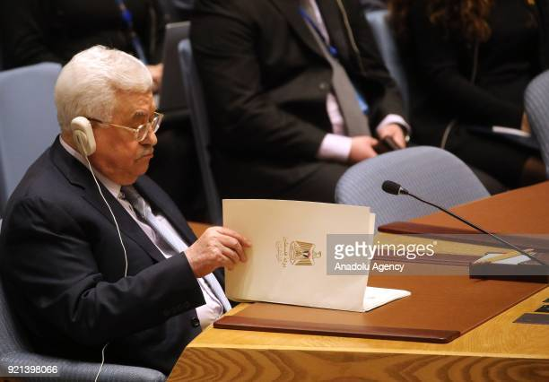 Palestinian President Mahmoud Abbas attends the UN Security Council meeting to evaluate current situation of Palestine at the United Nations...