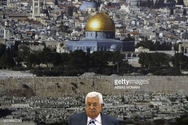 Palestinian president Mahmoud Abbas chairs a meeting of the Palestine Liberation Organization Executive Committee at the Palestinian Authority...