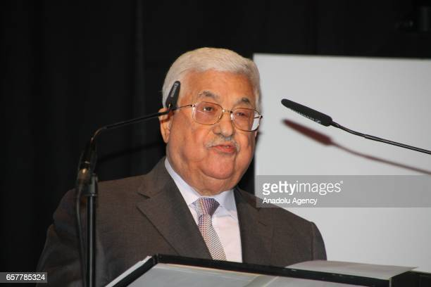 Palestinian President Mahmoud Abbas delivers a speech during the 12th Steiger Award Ceremony in Dortmund Germany on March 25 2017