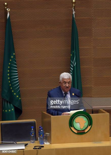 Palestinian President Mahmoud Abbas delivers a speech during the opening ceremony of the 29th African Union Summit in Addis Ababa Ethiopia on July 03...
