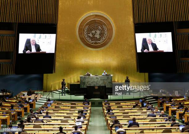 Palestinian President Mahmoud Abbas delivers a speech remotely at the 76th Session of the U.N. General Assembly at U.N. Headquarters on September 24,...