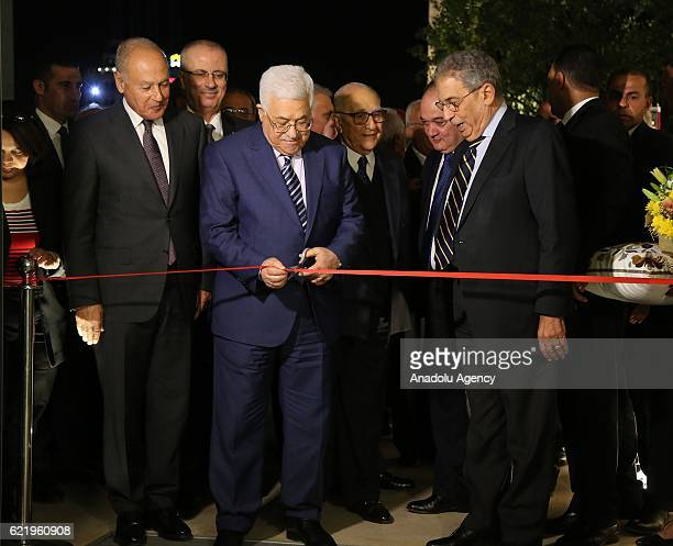 Palestinian President Mahmoud Abbas Former Arab League Secretary General Amr Moussa Palestinian Prime Minister Rami Hamdallah and Arab League...