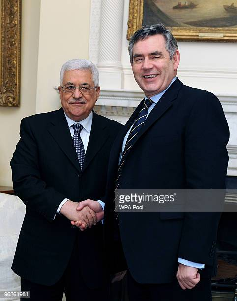 Palestinian President Mahmoud Abbas is welcomed by British Prime Minister Gordon Brown at Number 10 Downing Street on January 29 2010 in London...