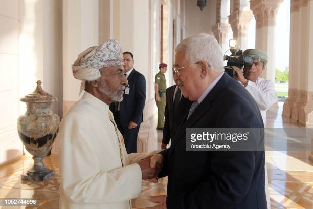Palestinian President Mahmoud Abbas is welcomed by Sultan of Oman Sayyid Qaboos bin Said Al Said in Muscat, Oman on October 22, 2018.