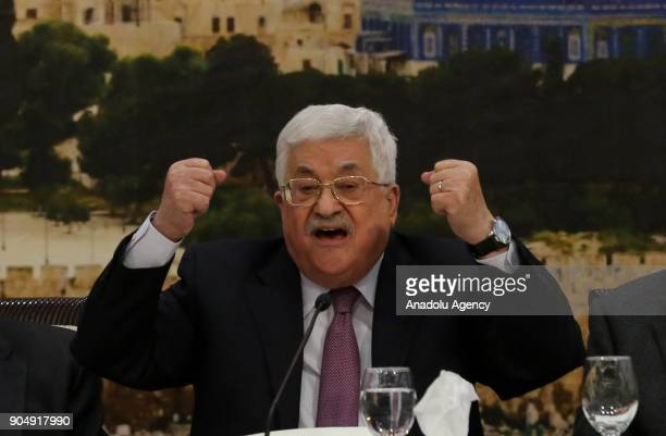Palestinian President Mahmoud Abbas makes a speech as he attends the 28th session of the Palestinian Central Council based on the Palestinian...