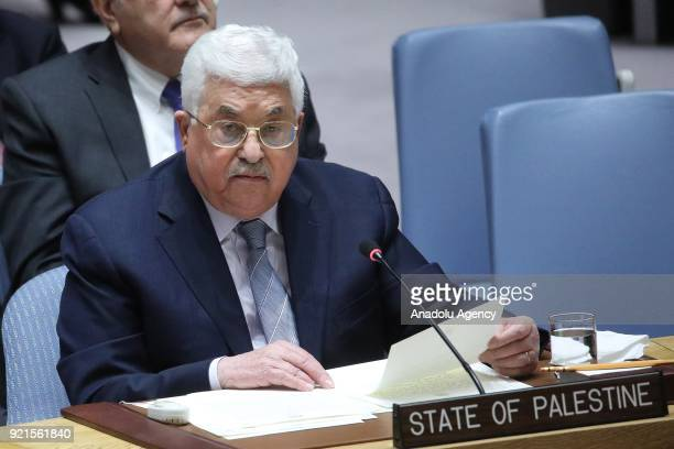 Palestinian President Mahmoud Abbas makes a speech during the UN Security Council meeting to evaluate current situation of Palestine at the United...
