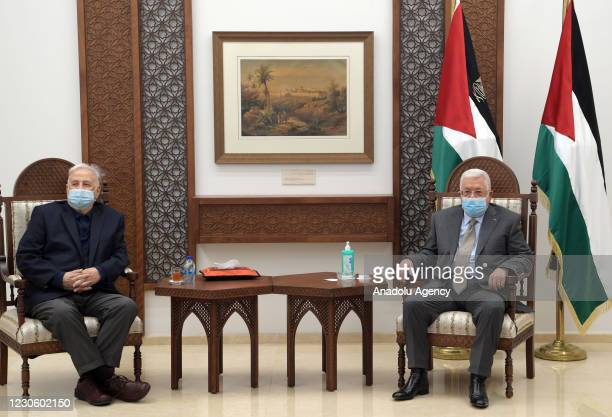 Palestinian President, Mahmoud Abbas meets Chairman of the Palestinian Central Elections Commission Hanna Nasser in Ramallah, West Bank on January...