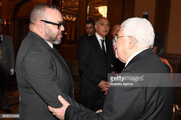 Palestinian President Mahmoud Abbas meets King of Morocco Mohammed VI ahead of the 28th African Union Summit in Addis Ababa Ethiopia on January 29...