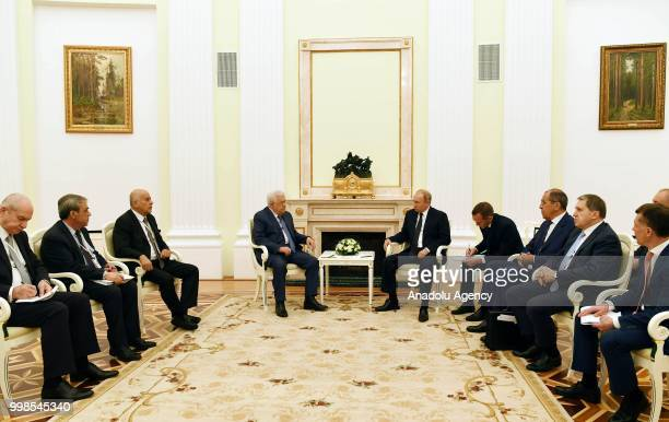Palestinian President Mahmoud Abbas meets President of Russia Vladimir Putin at the Kremlin Palace in Moscow Russia on July 14 2018