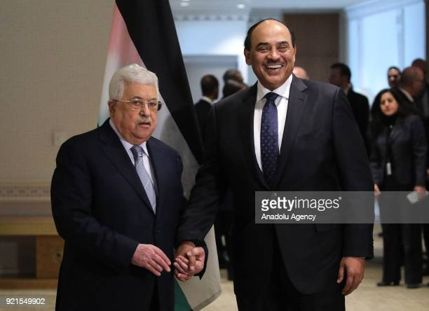 Palestinian President Mahmoud Abbas meets with Deputy Prime Minister and Minister of Foreign Affairs of Kuwait Sheikh Sabah Khaled AlHamad AlSabah...