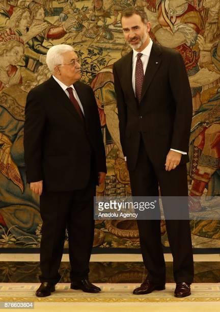 Palestinian President Mahmoud Abbas meets with King Felipe VI of Spain at Palace of Zarzuela in Madrid Spain on November 20 2017