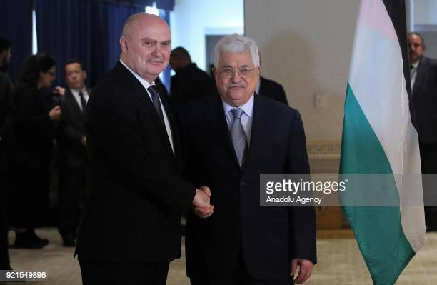 Palestinian President Mahmoud Abbas meets with Permanent Representative of Turkey to the United Nations Feridun Sinirlioglu after the United Nations...