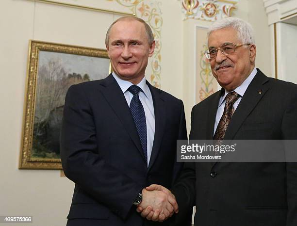 Palestinian President Mahmoud Abbas meets with Russian President Vladimir Putin in NovoOgaryovo state residence on April 13 2015 outside of Moscow...