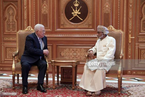 Palestinian President Mahmoud Abbas meets with Sultan of Oman Sayyid Qaboos bin Said Al Said in Muscat, Oman on October 22, 2018.