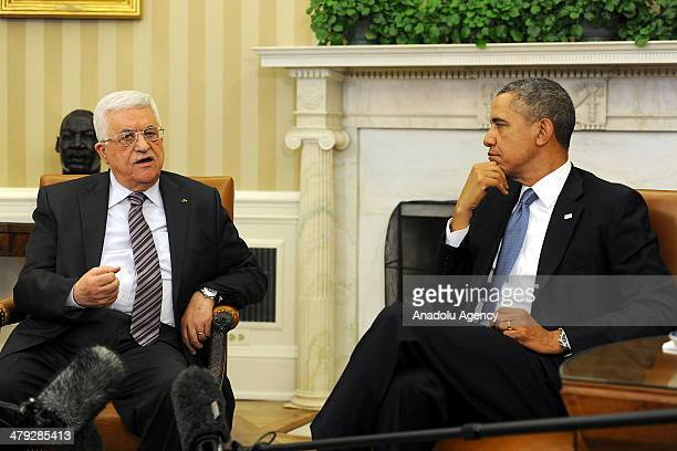 Palestinian President Mahmoud Abbas meets with US President Barack Obama at White House in Washington United States