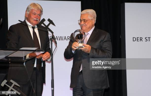 Palestinian President Mahmoud Abbas received 'hope of peace award from Journalist Dietmar Ossenberg during the 12th Steiger Award Ceremony in...