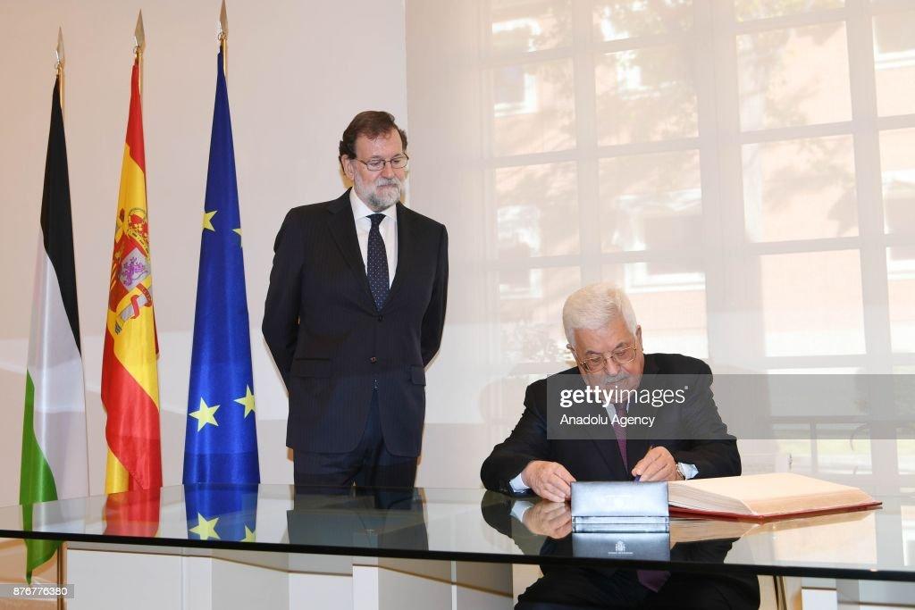 Palestinian President Mahmoud Abbas in Spain : News Photo
