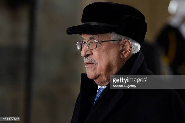Palestinian President Mahmoud Abbas stands in one minute's silence during his visit at Anitkabir the mausoleum of Turkey's founder Mustafa Kemal...