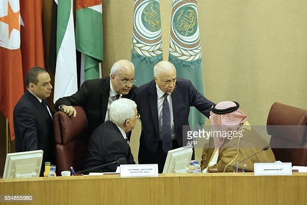 Palestinian president Mahmud Abbas and Palestinian chief negotiator Secretary General of the Palestine Liberation Organisation Saeb Erekat Arab...