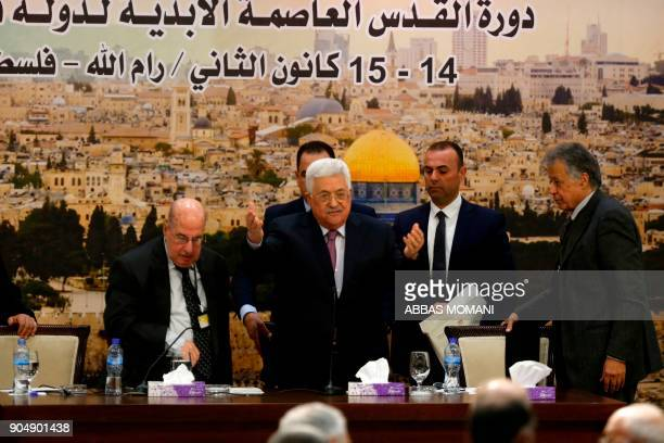 Palestinian president Mahmud Abbas arrives for a meeting in the West Bank city of Ramallah on January 14 2018 Abbas said that Israel has ended the...