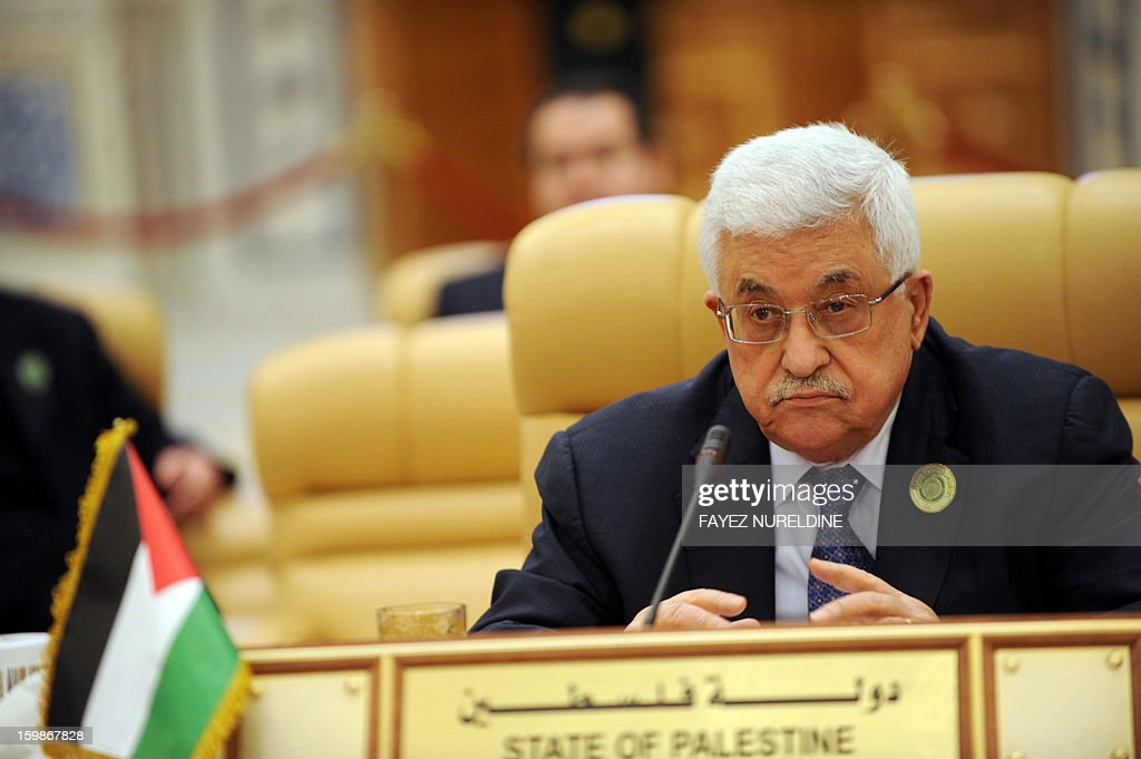 Palestinian President Mahmud Abbas attends the third Arab Economic, Social and Development Summit on its second day, on January 22, 2013 in Riyadh. Saudi Arabia hosted a two-day summit aimed at relaunching regional cooperation in the face of economic challenges which were at the root of the Arab Spring uprisings.