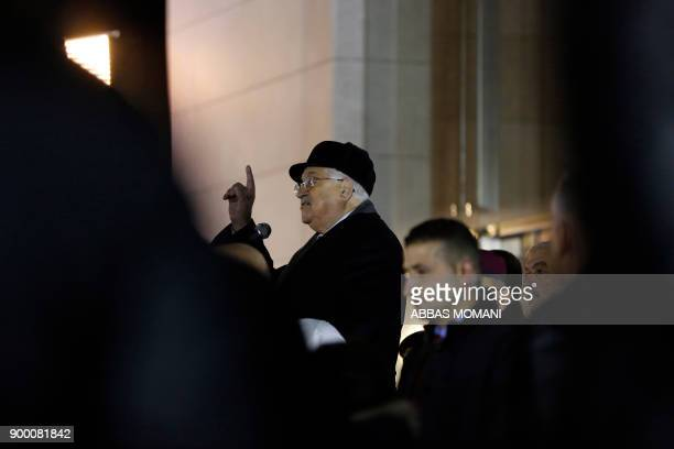Palestinian president Mahmud Abbas delivers a speech after laying wreath of flowers on the tomb of the late President Yasser Arafat during a...