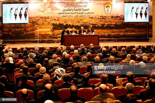Palestinian president Mahmud Abbas speaks during a meeting in the West Bank city of Ramallah on January 14 2018 Abbas said that Israel has ended the...